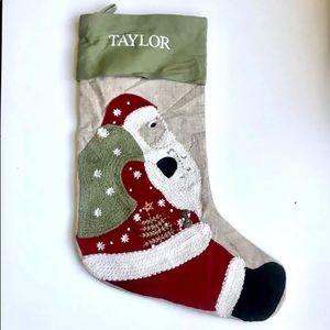 Pottery Barn Crewel Embroidered Santa Stocking
